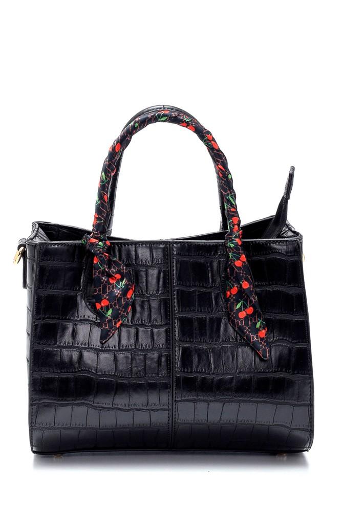 Siyah Kadın Kroko Desenli Kol Çantası 5638265359