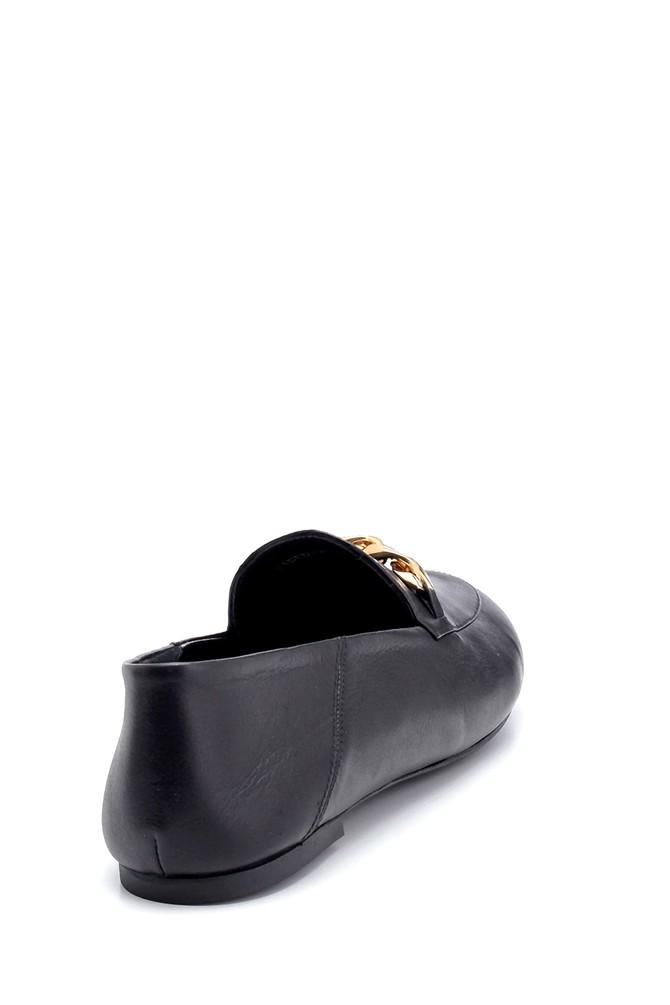 5638270564 Kadın Deri Zincir Detaylı Loafer