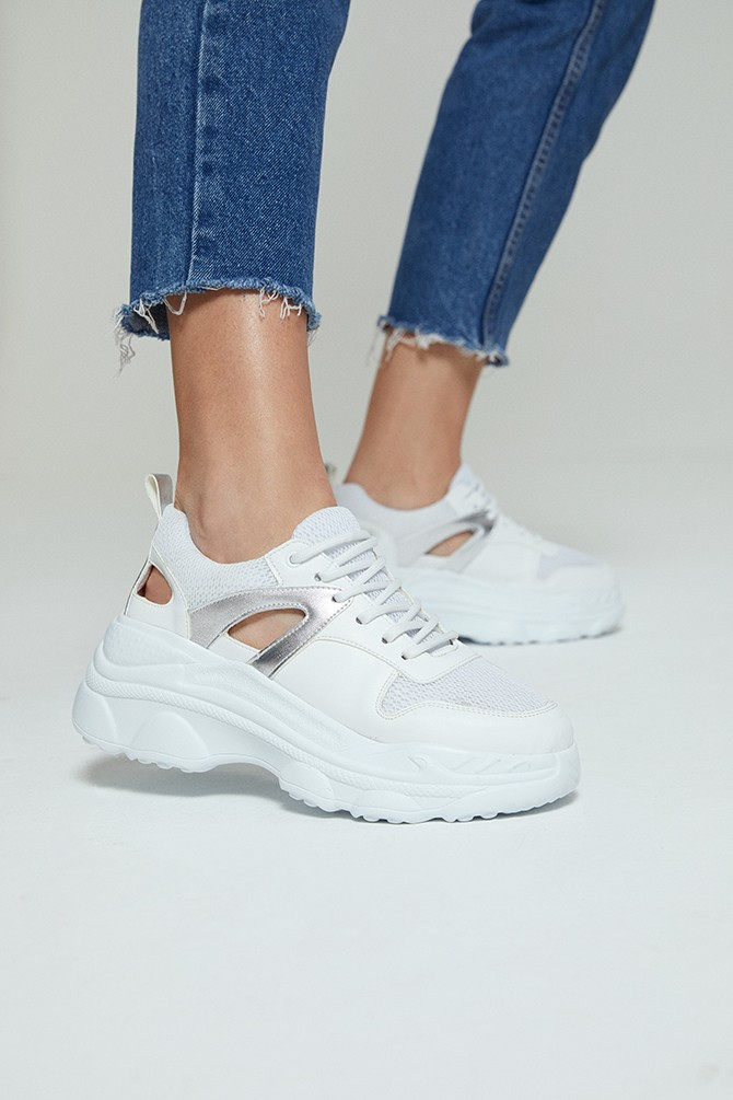 Beyaz Kadın Yüksek Tabanlı Sneaker 5638273590