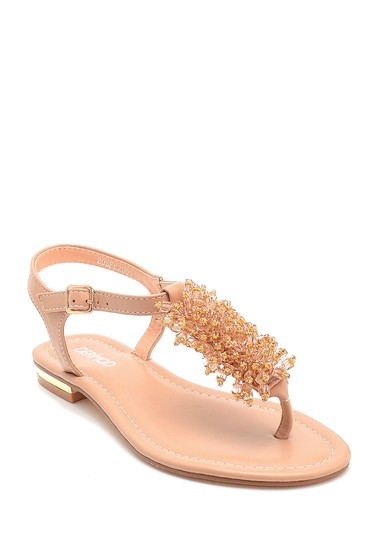 Bej Kadın Boncuk Detaylı Sandalet 5638258244