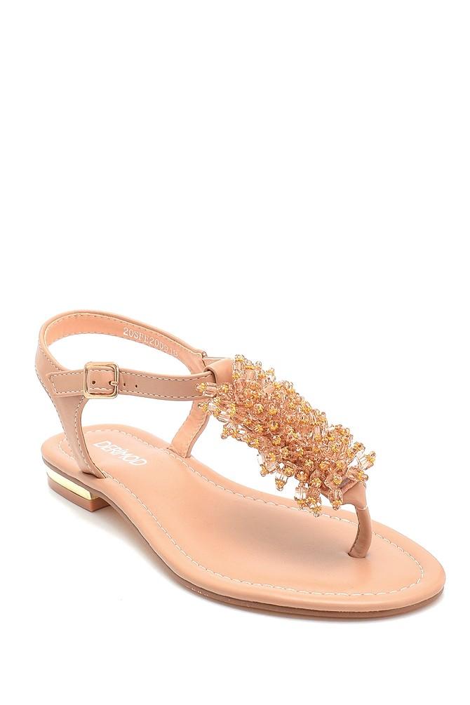 5638258256 Kadın Boncuk Detaylı Sandalet