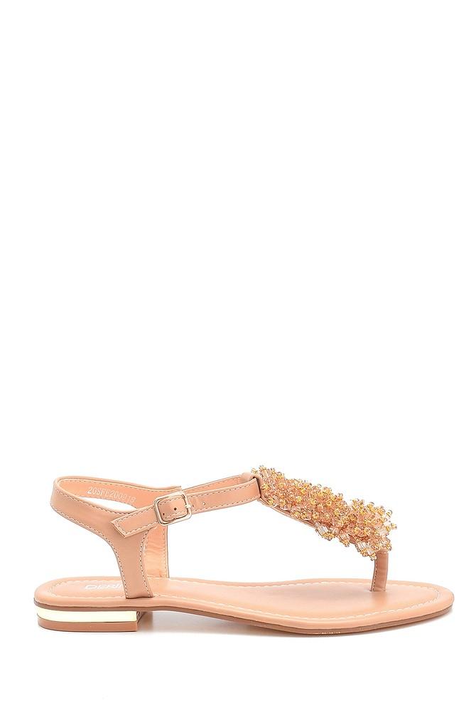 Bej Kadın Boncuk Detaylı Sandalet 5638258256