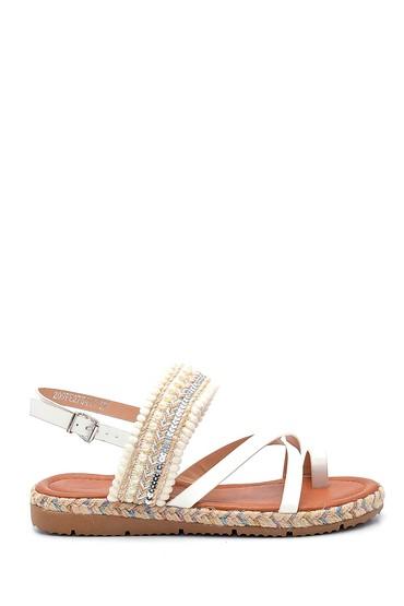Beyaz Kadın Parmak Arası Detaylı Sandalet 5638262372
