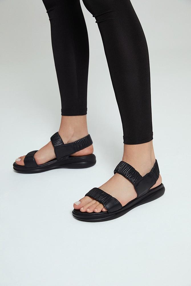 Siyah Kadın Deri Sandalet 5638260756