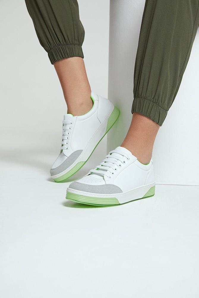Beyaz Kadın Fosfor Detaylı Sneaker 5638277327