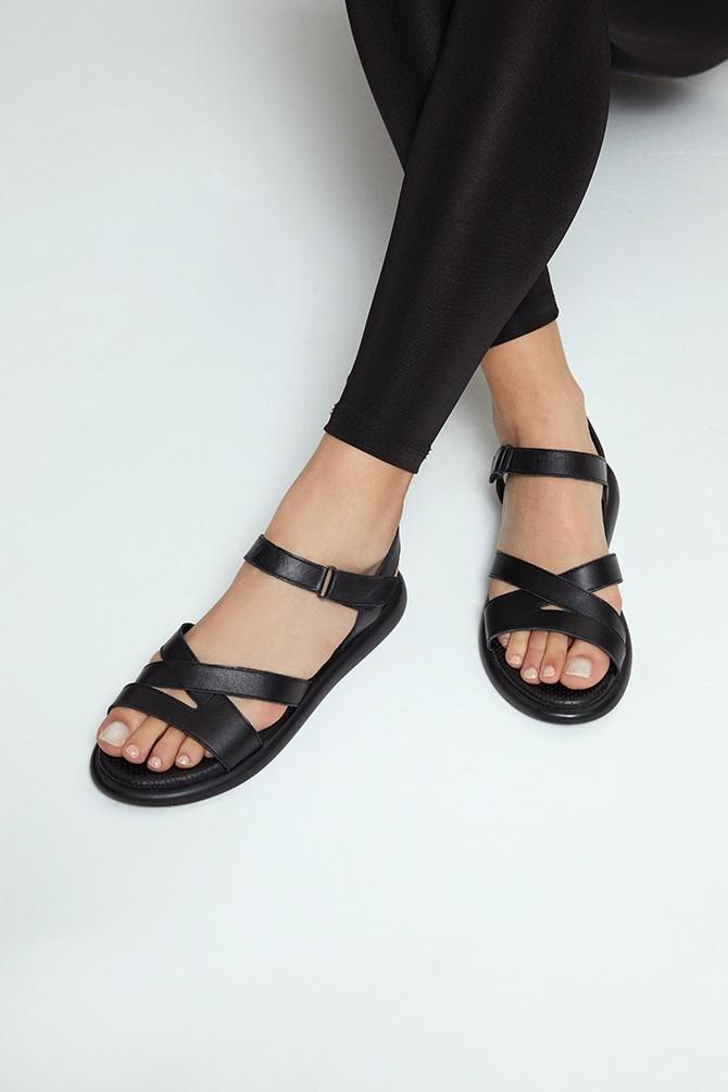 Siyah Kadın Deri Sandalet 5638268252