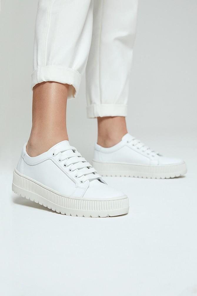 Beyaz Kadın Deri Sneaker 5638292387