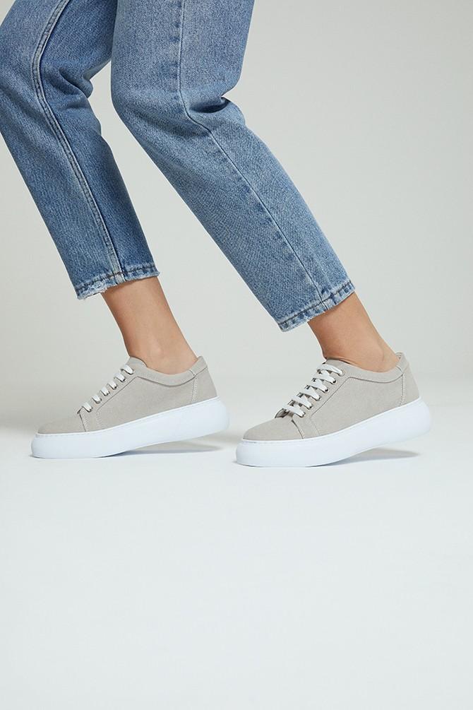 Gri Kadın Süet Sneaker 5638292444