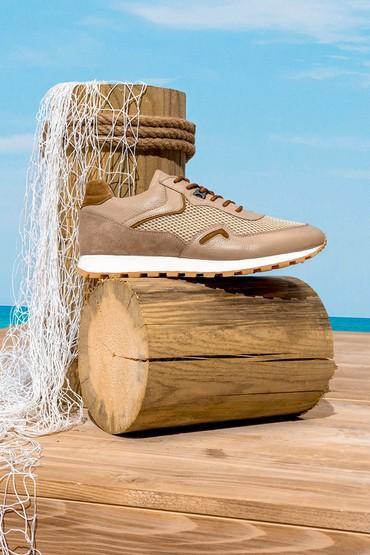 Bej Erkek Deri Sneaker 5638253352