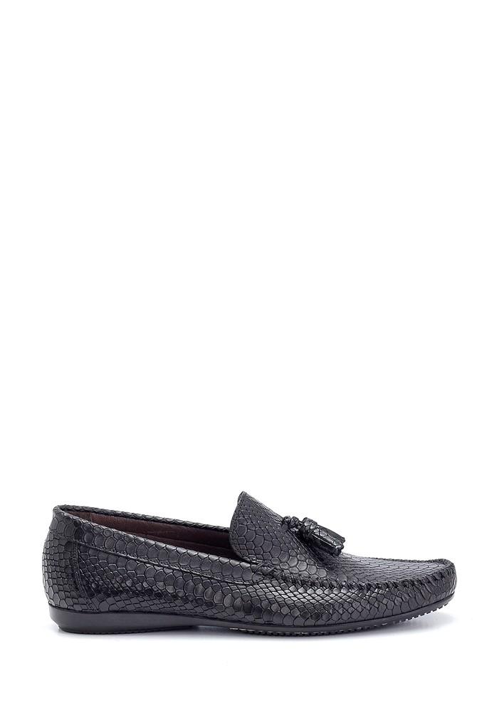 Siyah Erkek Kroko Deri Püsküllü Loafer 5638249678