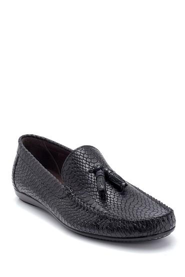 Siyah Erkek Kroko Deri Püsküllü Loafer 5638249668