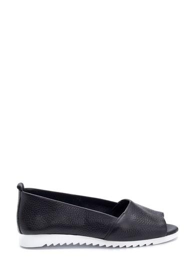 Siyah Kadın Açık Burun Detaylı Deri Ayakkabı 5638265361