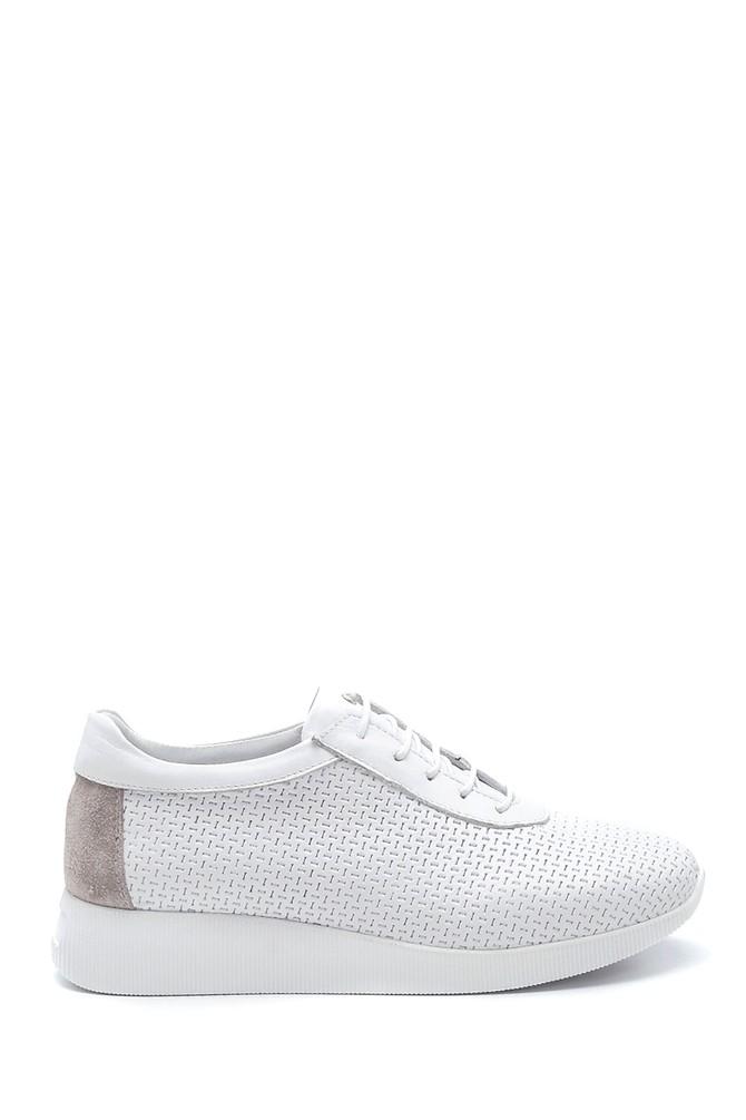 Beyaz Kadın Deri Sneaker 5638265637
