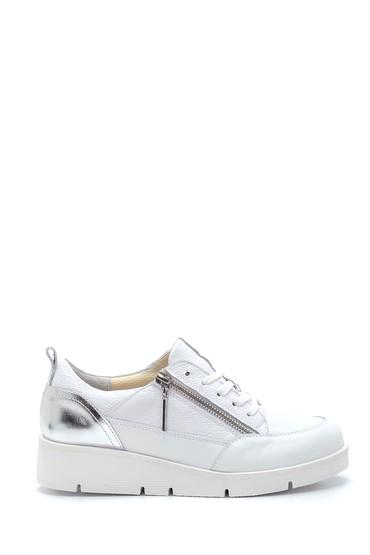 Beyaz Kadın Deri Fermuar Detaylı Ayakkabı 5638272991