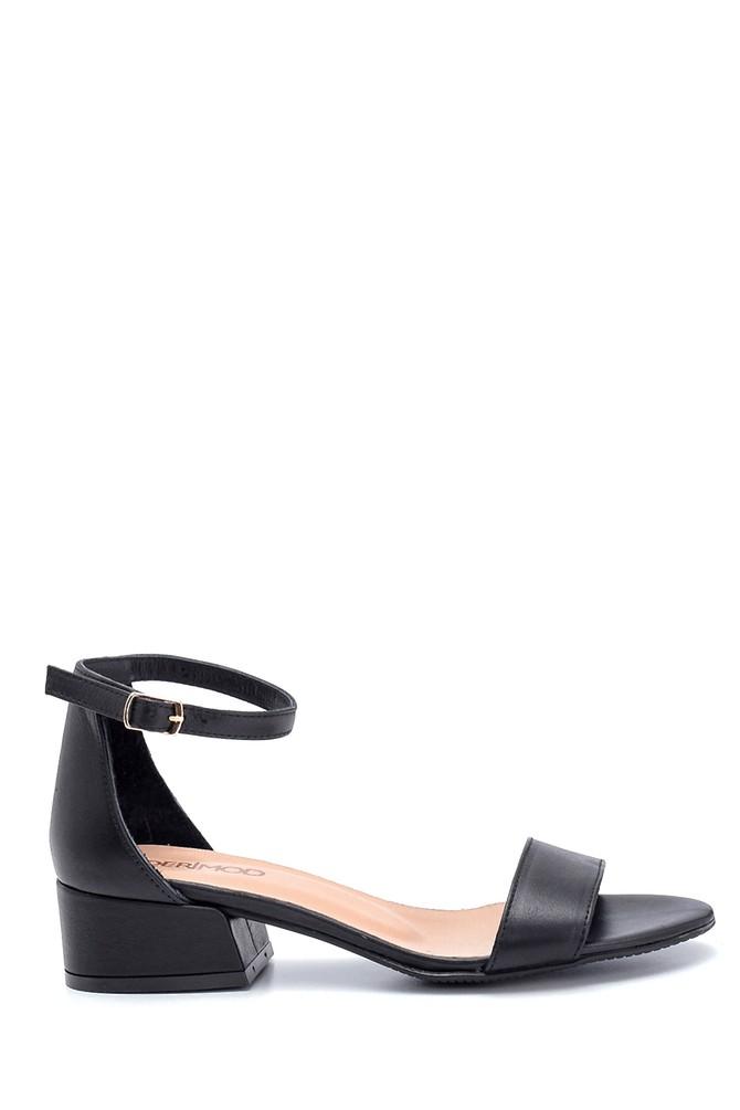 Siyah Kadın Kısa Topuklu Deri Sandalet 5638266360