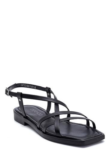 Siyah Kadın Deri Sandalet 5638262019