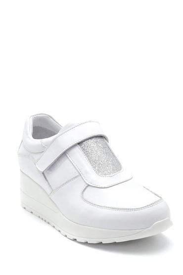 Beyaz Kadın Bantlı Deri Casual Ayakkabı 5638291423