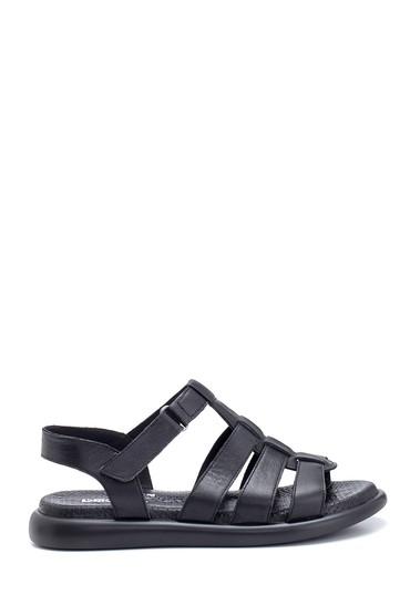 Siyah Kadın Deri Sandalet 5638268291