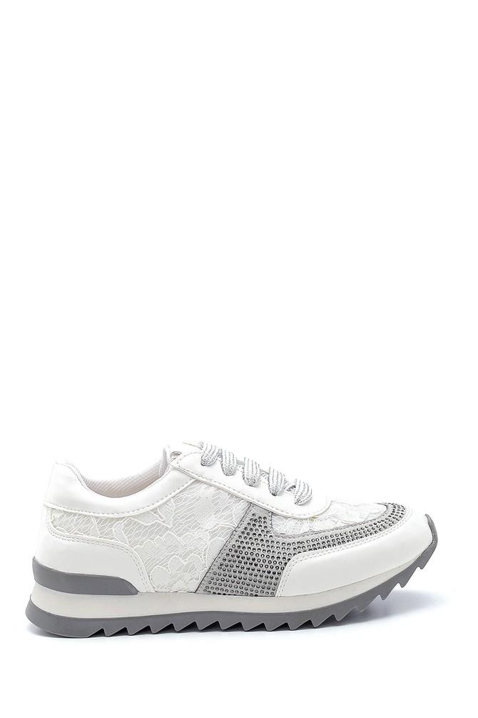 Beyaz Kadın Dantel Detaylı Sneaker 5638294373