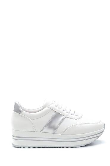 Beyaz Kadın Şerit Detaylı Sneaker 5638294394