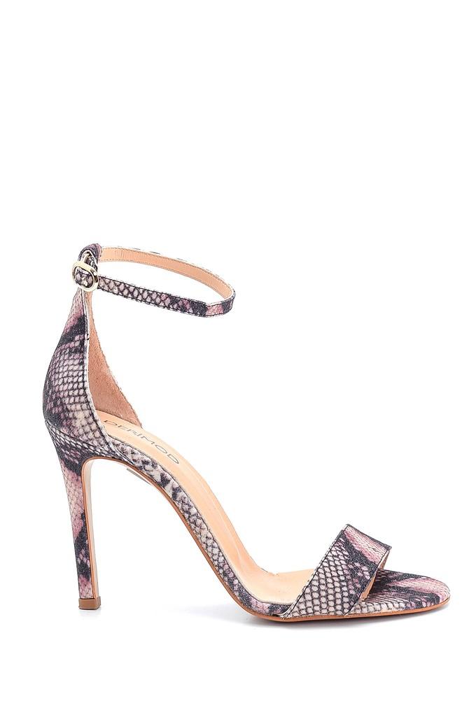 Lila Kadın Deri Topuklu Sandalet 5638297479