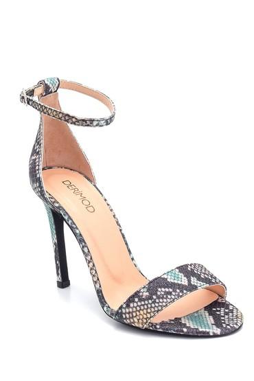 Siyah Kadın Deri Topuklu Sandalet 5638297480