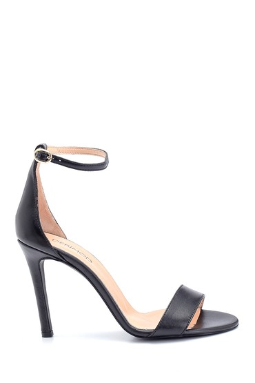 Siyah Kadın Casual Topuklu Deri Sandalet 5638297499