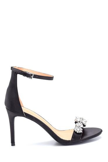 Siyah Kadın Topuklu Taş Detaylı Sandalet 5638258522