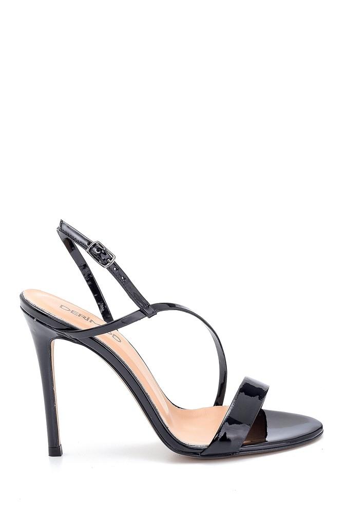 Siyah Kadın Rugan Deri Topuklu Sandalet 5638297434