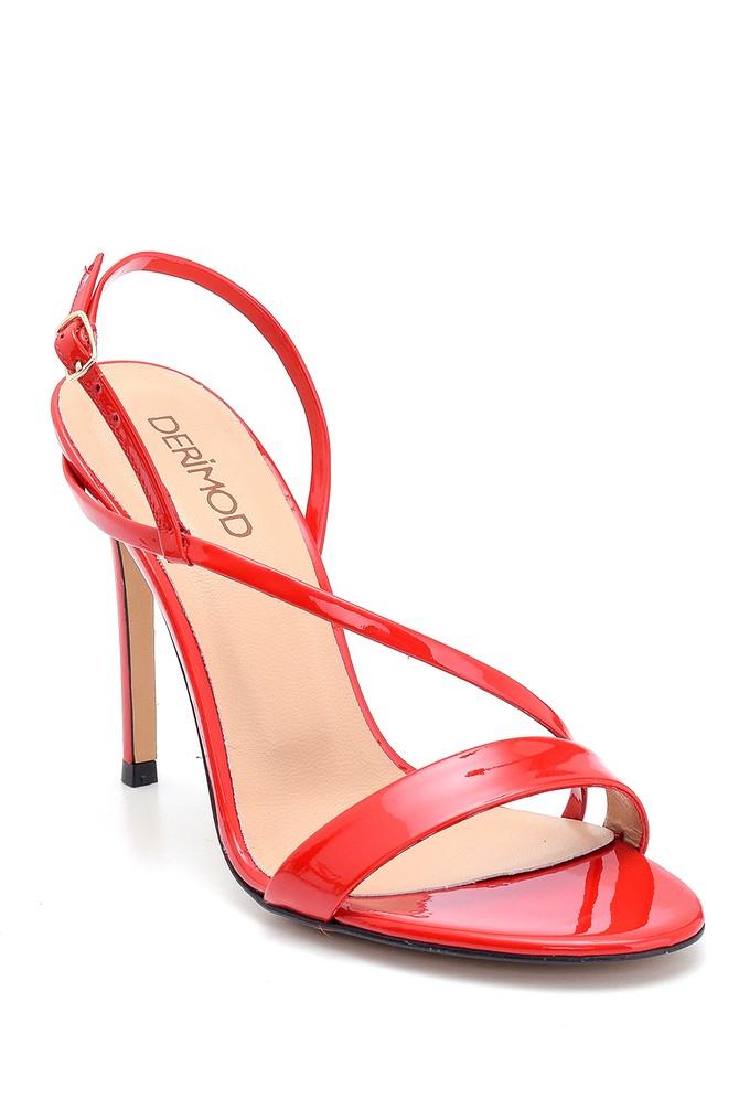 5638297432 Kadın Rugan Deri Topuklu Sandalet