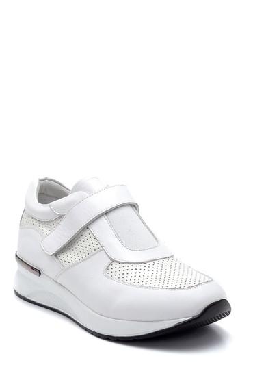 Beyaz Kadın Bantlı Deri Ayakkabı 5638265476