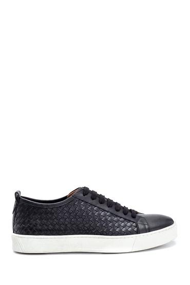 Siyah Erkek Örgü Detaylı Deri Sneaker 5638275731