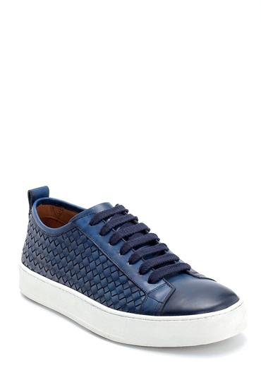 Lacivert Erkek Örgü Detaylı Deri Sneaker 5638275722