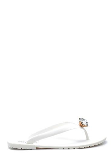 Beyaz Kadın Parmak Arası Taş Detaylı Terlik 5638276005