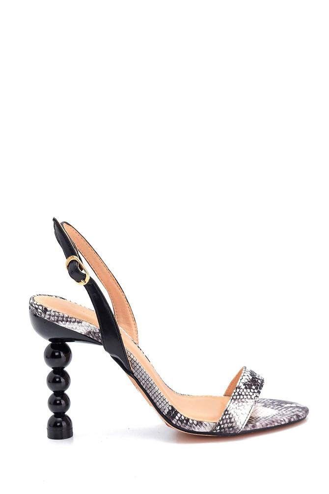 Siyah Kadın Misket Topuklu Sandalet 5638258566