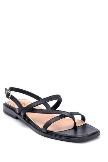 Siyah Kadın Casual Deri Sandalet 5638266313