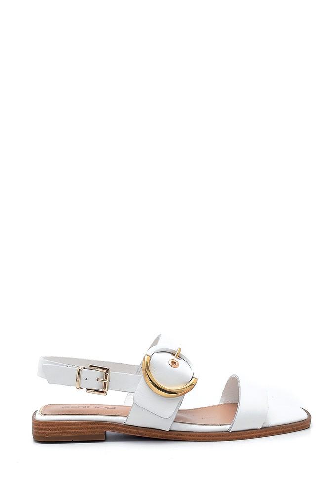 Beyaz Kadın Deri Sandalet 5638266341