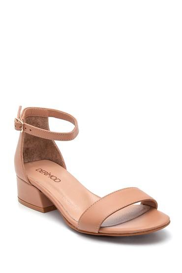 Bej Kadın Kısa Topuklu Deri Sandalet 5638266359