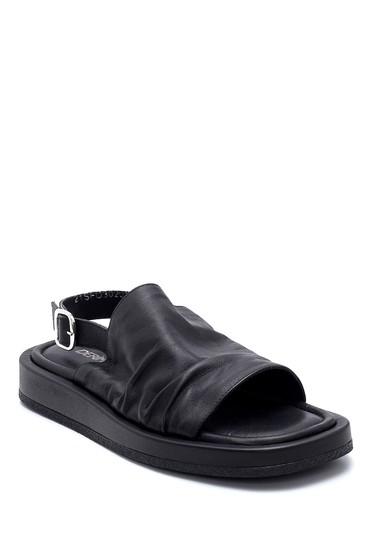 Siyah Kadın Deri Sandalet 5638262032