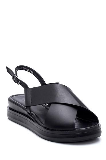 Siyah Kadın Casual Deri Sandalet 5638262049