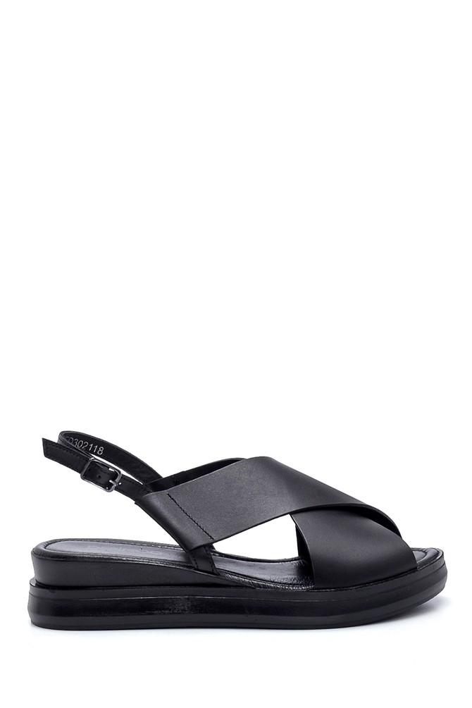 Siyah Kadın Deri Sandalet 5638262049