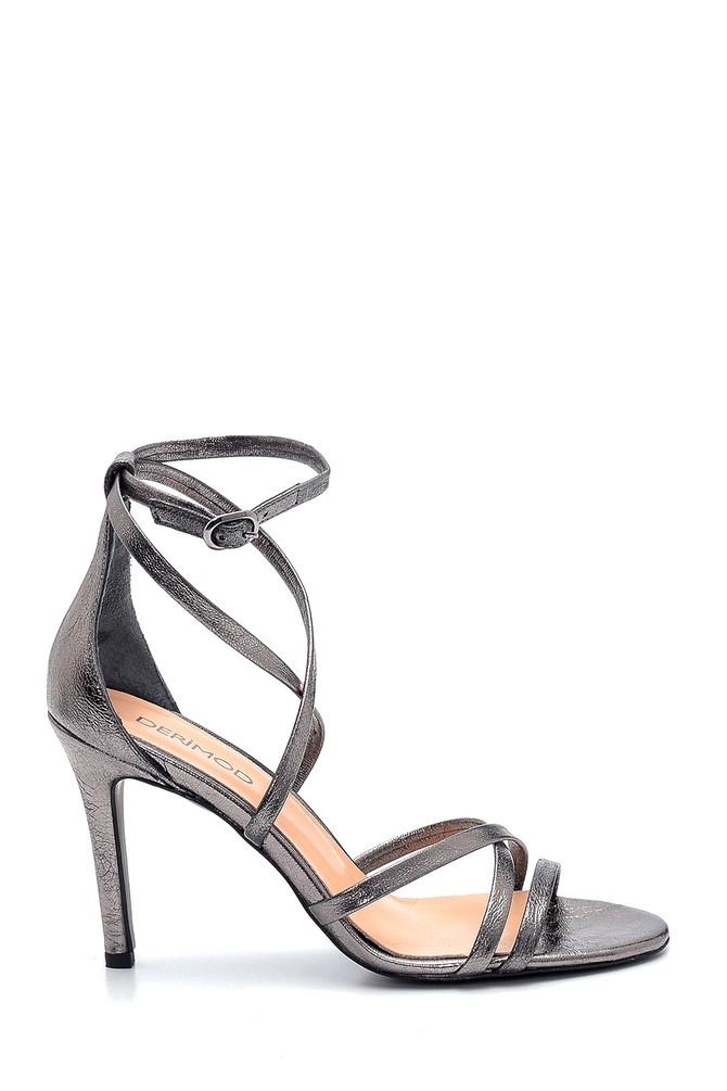 Antrasit Kadın Deri Yüksek Topuklu Ayakkabı 5638289124