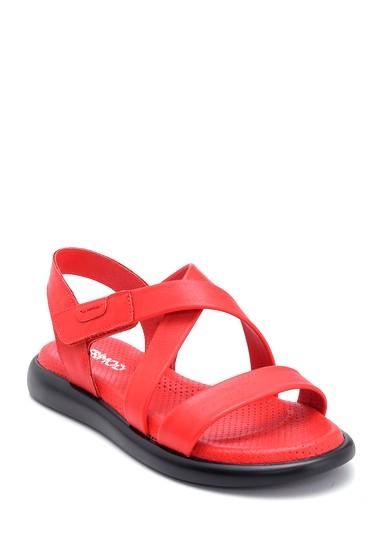 Kırmızı Kadın Deri Sandalet 5638268271