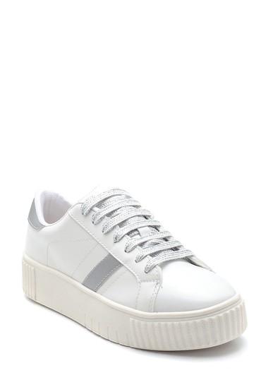Beyaz Kadın Şerit Detaylı Sneaker 5638294466