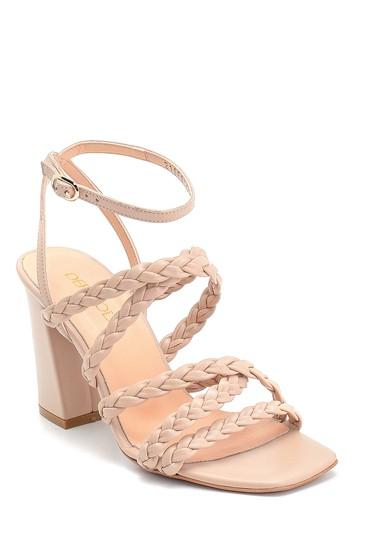Bej Kadın Örgü Detaylı Topuklu Deri Sandalet 5638298029