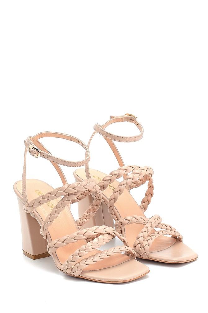 5638298029 Kadın Örgü Detaylı Topuklu Deri Sandalet