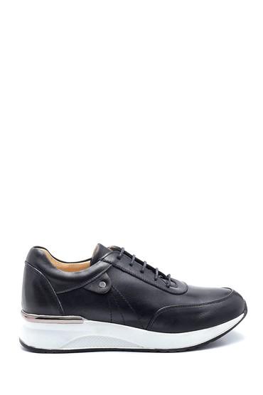 Siyah Kadın Deri Sneaker 5638291407