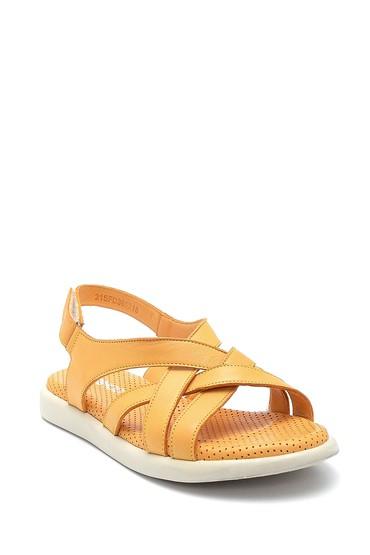 Sarı Kadın Deri Bantlı Sandalet 5638268195