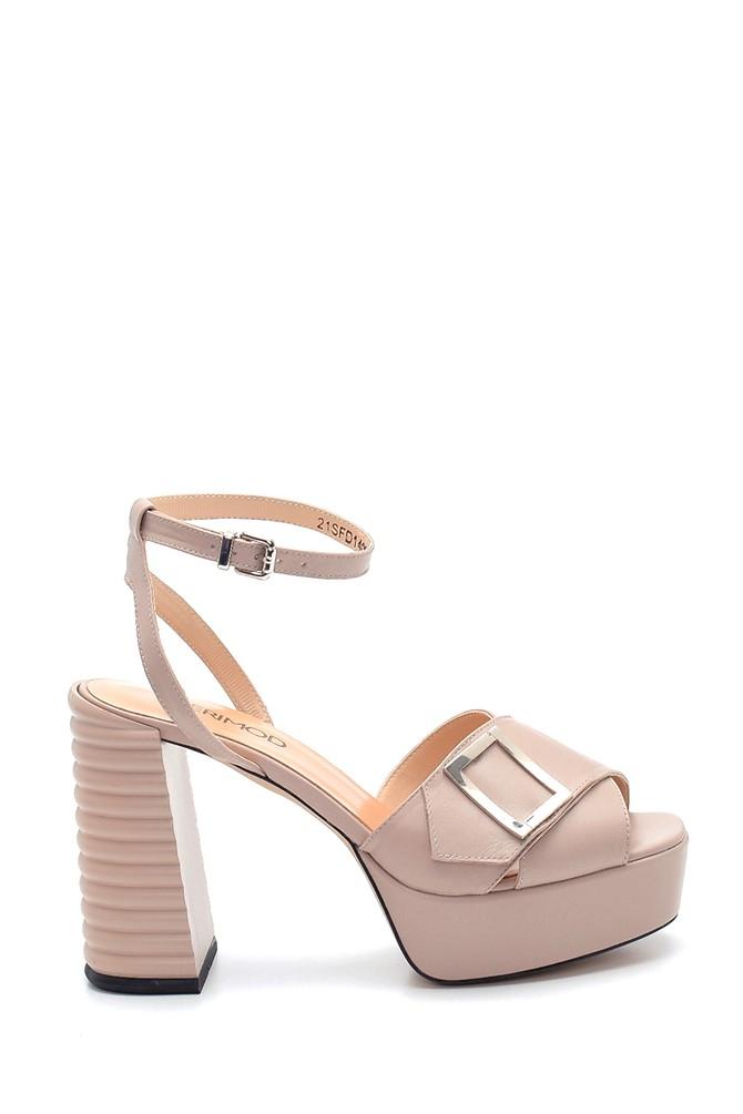 Bej Kadın Deri Topuklu Sandalet 5638294779