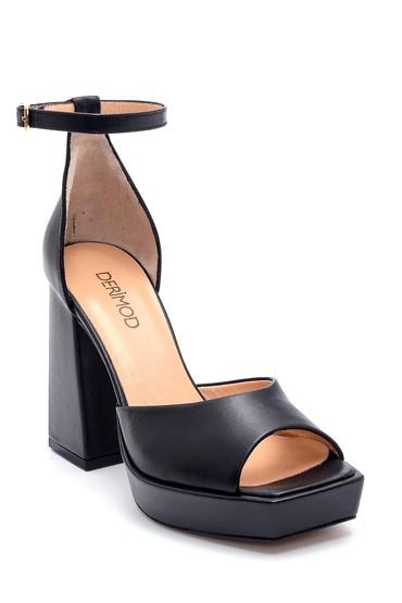 Siyah Kadın Deri Yüksek Topuklu Sandalet 5638297450